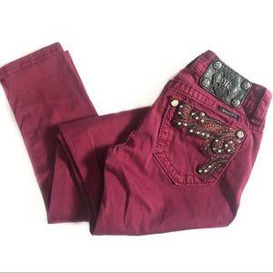 Miss Me Skinny Burgundy Jeans Embellished Denim 24
